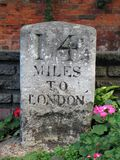 Sign. 14 miles to London Stock Images