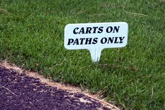 Sign. Carts on paths only sign Royalty Free Stock Photos
