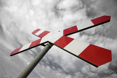 Sign. Road sign on the background of the sky Stock Photography