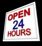 Sign. An informative sign says open 24 hours Royalty Free Stock Photography