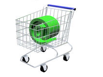 At sign. Shopping cart with a green at sign inside Royalty Free Stock Images