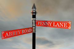 Sign. Penny Lane meets Abbey Road Street Sign stock illustration