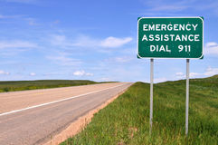 Sign for 911 number Stock Photos