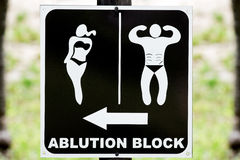 Sign of an ablution block. Stock Images