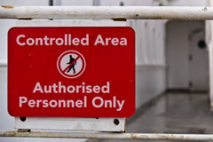 Sign aboard ship indicating restricted area. Sign aboard ship indicating restricted zone Royalty Free Stock Images