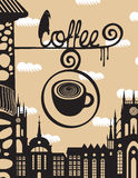 Sign above the cafe with a cup of coffee Royalty Free Stock Photos
