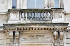 Sign above doorway of Bow Street Magistrates court Stock Image