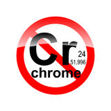 Sign absence of harmful substances - chrome. In the red circle Stock Photos