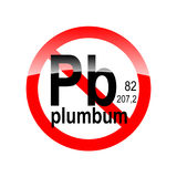 Sign absence of harmful substances - plumbum. In the red circle Royalty Free Stock Images