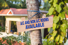 Sign Advertising Air and Non Air Conditioned Rooms Stock Images