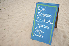 Sign Advertising Brazilian Beach Snacks Food Royalty Free Stock Photo