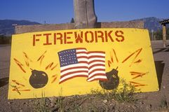 Sign advertising a Fireworks Stand, Florida Royalty Free Stock Photos