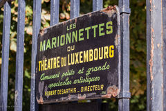 Sign advertising Les Marionnettes du Theatre du Luxembourg, Paris, France Royalty Free Stock Image