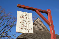 Sign advertizing Shields Tavern in Colonial Williamsburg, Virgin Stock Image