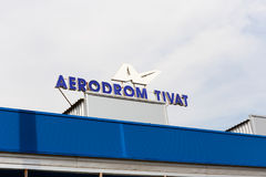 Sign `Aerodrom Tivat` on the airport building in Tivat in Montenegro. Tivat, Montenegro - June 22, 2017: Sign `Aerodrom Tivat` on the airport building in Tivat royalty free stock photography