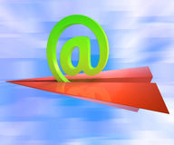 At Sign Aeroplane Shows E-mail Sending Post Stock Image
