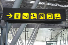 Sign in an airport Stock Photo