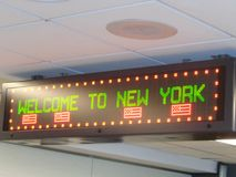 Sign. Airport sign welcome to New York Stock Image
