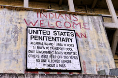 Sign at Alcatraz Island Boat Dock; Indians Welcome Stock Photo