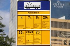 Sign of all tram streetcars which stops at stop Kruisplein in Rotterdam in the Netherlands. Sign of all tram streetcars which stops at stop Kruisplein in royalty free stock images