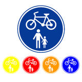 Sign allow only pedestrians and bicycles. Stock Images