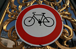 Sign Allowing Bicycles in The Tuileries Garden, Paris. The Tuileries Garden is a public garden located between the Louvre Museum and the Place de la Concorde in stock images