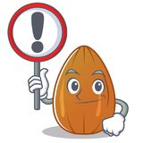 With sign almond nut character cartoon Royalty Free Stock Photo