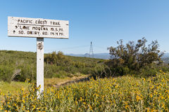 Sign Along the Pacific Crest Trail stock photography