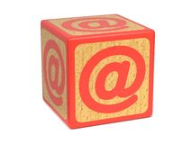 At Sign or Ampersat - Childrens Alphabet Block. Royalty Free Stock Photos