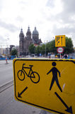 Sign amsterdam bicycle and pedestrain street Royalty Free Stock Image