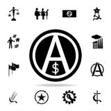 a sign of anarchy and the dollar icon. Detailed set of communism and socialism icons. Premium graphic design. One of the vector illustration
