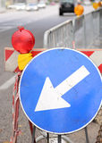 Sign with arrow to roadworks Stock Photo