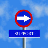 Sign with arrow and word of support Stock Image