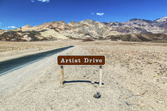 Sign artist drive in death valley Stock Photos
