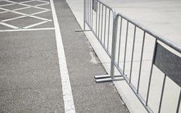 Sign in asphalt hurdles Stock Image