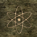 Sign atom on bark Royalty Free Stock Image