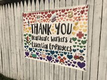 Thank You Healthcare Workers And Essential Employees Sign, Rutherford, NJ, USA