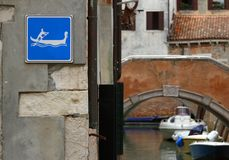 Sign of attention to gondolas on the Canal in Venice Stock Photos