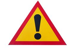 Sign of attention on white background, close-up, danger royalty free stock photography