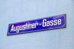Sign Augustiner - Gasse, Lindenhof quarter, Zurich. Zurich, Switzerland - June 10, 2017: Street sign of Augustinergasse in Zuerich, Lindenhof quarter Royalty Free Stock Image
