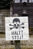 Sign in Auschwitz concentration camp Royalty Free Stock Photography