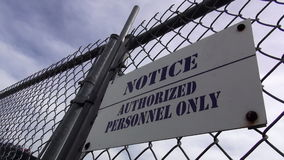 Sign Authorized Personnel Only   ALABAMA OCTOBER 16, 2013. Sign Authorized Personnel Only   ALABAMA/USA OCTOBER 16, 2013 stock footage