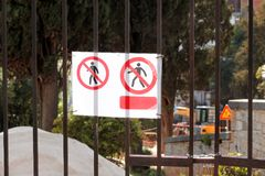 Sign of authorized personnel only at construction site. Red, black and white restricted area, Authorized Personnel Only. Sign of authorized personnel only at royalty free stock photography