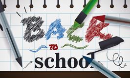 Sign with Back to School Message with Pens, Vector Illustration Royalty Free Stock Photos