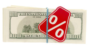 Sign %. On the background of one hundred dollar bills Stock Photos