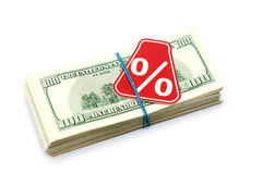 Sign %. On the background of one hundred dollar bills Royalty Free Stock Photo
