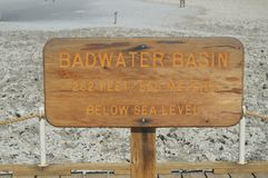 Sign Bad Water Basin. The Lowest Place Below The Sea Level. Gigantic Salt Lagoons. Travel holydays Geology. June 28, 2018. Death Valley California. EEUU. USA Stock Photography