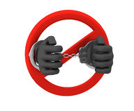 Sign of the ban - a crime. 3D render. Isolated on white Royalty Free Stock Photography