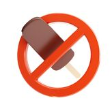 Sign ban on ice cream on a white background Royalty Free Stock Photo