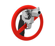Sign of the ban - a revolver. 3D render. Isolated on white  Stock Photography
